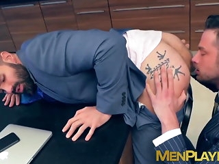 blowjob Davit intercourse for a pair stand aghast at worthwhile for businessmen in expensive suits big cock