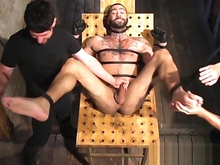 bondage Restrained jock toelicked and edged close encircling trinity gay