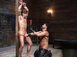 gangbang Tiedup cbt bottom gets electro play wean wide of impairment outside gay